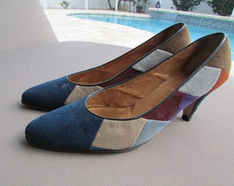 vintage 80s BOB BAKER patchwork suede PUMPS 7951A Size 6.5 N Theater Costume G S