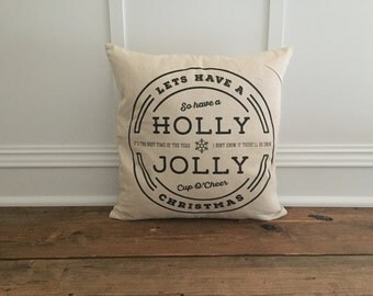 Holly Jolly Pillow Cover (Black)