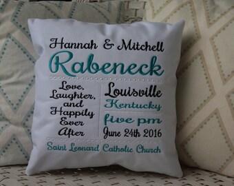 Personalized Wedding Pillow | Wedding Subway Art