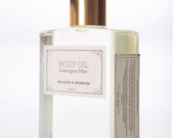 Lemongrass Mint Body Oil - organic, essential oils, hydrating, vitamin e, sunflower oil, apothecary - 2 oz - glass bottle - mother's day