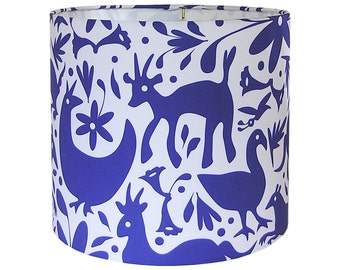 Lamp Shade Lampshade Pendant Mexican Springtime by an Independent Designer Otomi Cobalt Made to Order