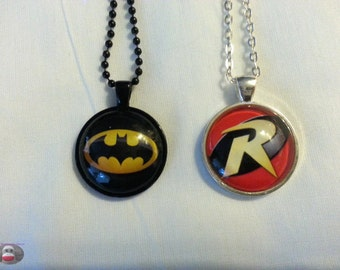 Batman or Robin Glass Pendant Necklace