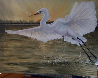 "Original oil painting "" Rising"" white Egret"