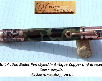 Deer Hunters Pen Bolt Action Pen 30 cal Pen Antique Copper Bullet Pen Woodland Camo Outdoors Pen