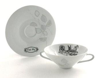 SALE Altered  Alice Tea Party Cereal Bowl Soup Mug Wonderland Vintage Redesigned Cup Porcelain White Whimsical
