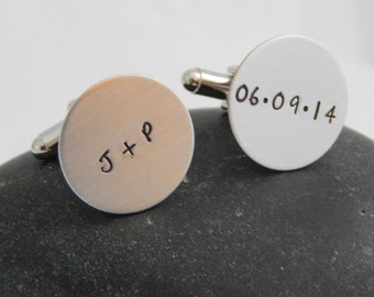 Personalized Cuff Links - Wedding Anniversary Groom's Gift Best Man's Father's Day Custom Cuff Links - Initials Date Cufflinks