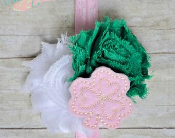 Sweet Paddy's Shamrock- Headband OR Clip- Pink