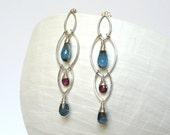 Sterling Silver Wire Wrapped Earrings; Handmade Jewelry; Leaf Hoops; Gemstone Briolette Earrings; Adorno by Holly; Garnet; London Blue Topaz