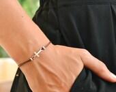 Cross bracelet, women bracelet with silver cross charm, christian catholic jewelry, brown cord, gift for her, adjustable sliding knot