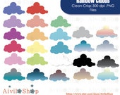 Rainbow CLOUDS Clipart!! 50% off, Colorful Clouds, Text bubbles, Decorations, etc.