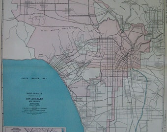 1927 RARE Size LOS ANGELES Map of Los Angeles Uncommon Vintage Collectible Map  Plaindealing 6277