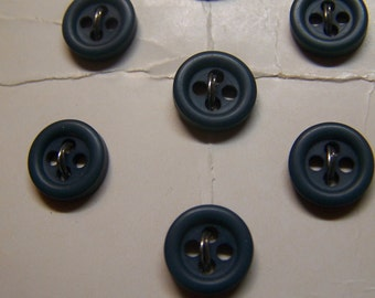 "Vintage 3/8"" Forest Green Doll Buttons Set of 7 (2 sets available)(1212)"