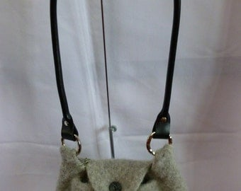 Felted Purse, Hand Knit and Felted Grey Purse with Black Rolled Leather Shoulder Strap