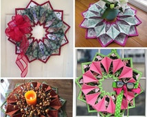 Pattern:  FOLD'N STITCH WREATH by Poor House Quilt Designs - Wreath - Table Topper - Centerpiece - Advanced Beginner - pqd-210