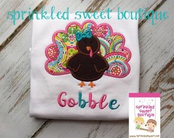 Pretty Paisley Turkey Girls Ruffle Shirt Custom Monogram Gobble