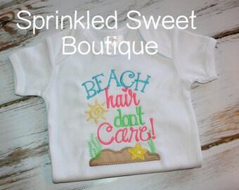 Beach Hair Don't Care Applique Embroidery Girls Summer Shirt Tank Custom Monogram