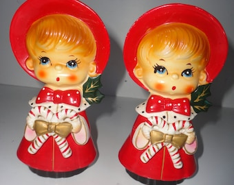 Vintage Pair of Boy Choir Boys Holding Candy in Hands Christmas Decor Bright Red Choir Boys Made in Japan Singing Choir Boys