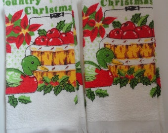 Vintage Pair of Unused Cannon Country Christmas Kitchen Towels Cannon Country Christmas Dish Towels, Christmas Poinsettias Bushel of Apples