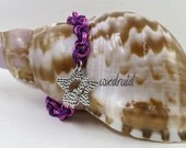 Chainmaille Bracelet, Violet and Pink Double Spiral Anodized Aluminum Chainmail Bracelet, Chainmaille Jewelry