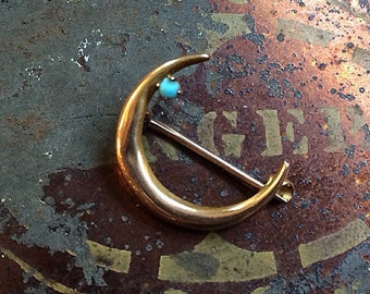 Turqouise and 10k Gold Cresent Moon Small Vintage Pin Brooch 10k 10ct