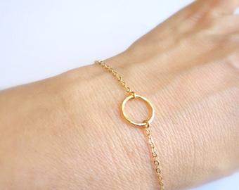 Simple Gold Bracelet, Gold Circle Bracelet, Karma Bracelet, Tiny Gold Bracelet, Gold Jewelry, Dainty Gold Bracelet Gold Bridesmaids Bracelet