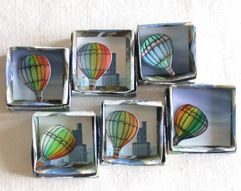 air balloon rainbow brooch hand painted shrink plastic