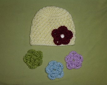 3-6 Months Hat With 4 Removable Flowers