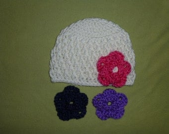 0-3 Months Hat With 3 Removable Flowers