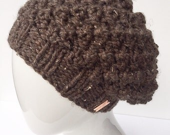 Hand Knit Hat, Bobble Hat, Slouchy Hat, Winter Hat, Women's Accessories, Barley, Brown, Christmas Gifts, Gifts under 30