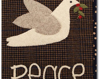 Peace Dove Journal Cover Pattern - Wool Applique Notebook Cover  #125 Half Price!