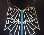 Silver Nazca Lines Statement Necklace With Turquoise Enamel Inlays - Hand Crafted Mayan Inspired Modern Statement Necklace