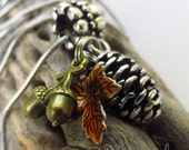 Autumn Fall Pendant Necklace With Silver Pine Cone, Bronze Acorn And Auburn Leaf