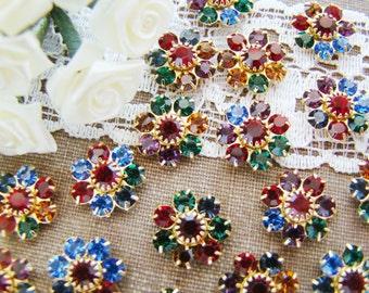 Vintage Holiday Sparkle Swarovski Rhinestone Flowers Multi Jewel Tone Crystal Findings - 4