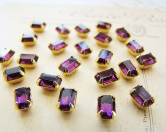 Vintage 6x4mm Octagon Swarovski Rhinestone Purple Amethyst Embellishments – 6