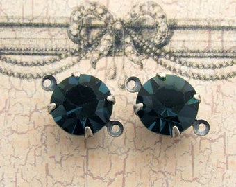 11mm Round Montana Blue Rhinestones in Antiqued Silver Ox 2 Ring Connector Link Settings - 2
