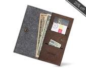 """W1026 Bifold Wallet """"100% Wool felt & Leather """""""