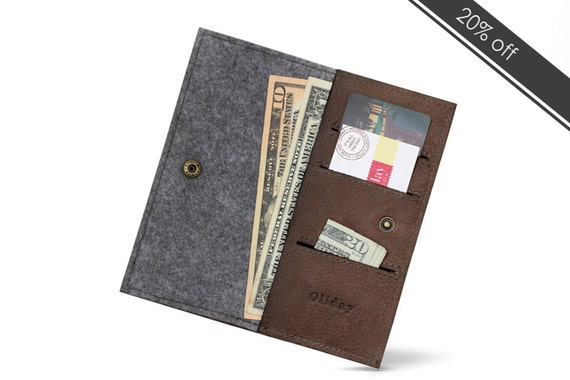 "W1026 Bifold Wallet ""100% Wool felt & Leather """