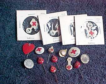 Vintage Red Cross Organization Donor Stick Pins & Lapel Badges - 1921 and Later - Metal folding tab tin litho - Plastic Blood Drops
