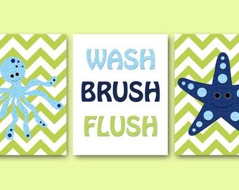 Blue Navy Green Octopus Starfish Decor Canvas Bathroom Wall Art Bathroom Decor Wash Brush Flush Bathroom Art Print Childrens Art set of 3