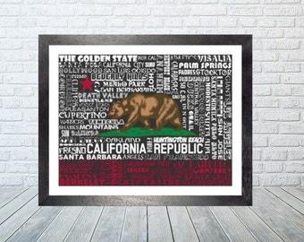 California State Flag Word Print
