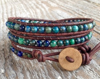 SPRING SALE Chrysocolla leather wrap bracelet yoga with teal, green, turquoise gemstone stone beads brown leather