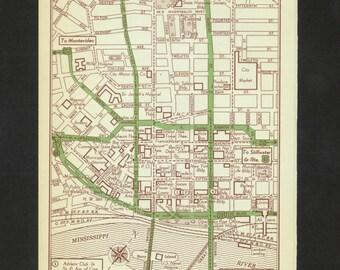 Vintage Map Saint Paul Minnesota Original 1951