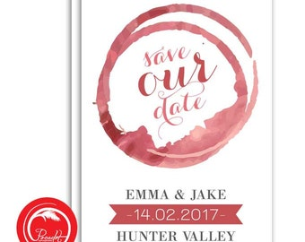 Wine Stain Save the Date Card
