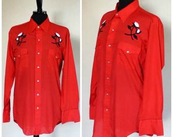 Vintage Karman Western Shirt Red Embroidered Pearl Snap Buttons