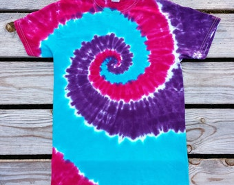 Girls Tie Dye T-Shirt, S M L  XL, Bright Pink Purple and Blue