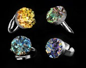 Bismuth Crystal Ring, Custom Order, Iridescent Bismuth Metal Crystal, Jewelry