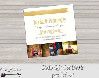 Photography Gift Certificate photoshop 5x7 card template