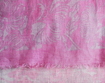 SALE  Long Japanese Chic natural Cochineal dyed Chrysanthemum pattern Linen scarf