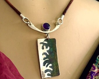 AlaMatisse/Asian Crossover Pendant in Sterling Silver and Copper with 8 mm  high grade Amethyst