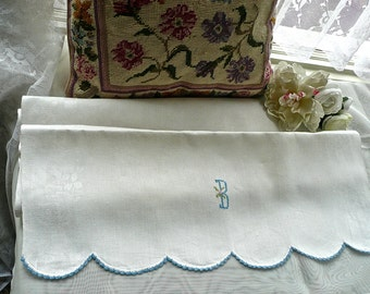 Vintage Linens - Hand Embroidered - Capital B Monogram -Antique Irish Linen Teatowel -Linen Damask Towel -Crocheted Lace Edging-French Decor